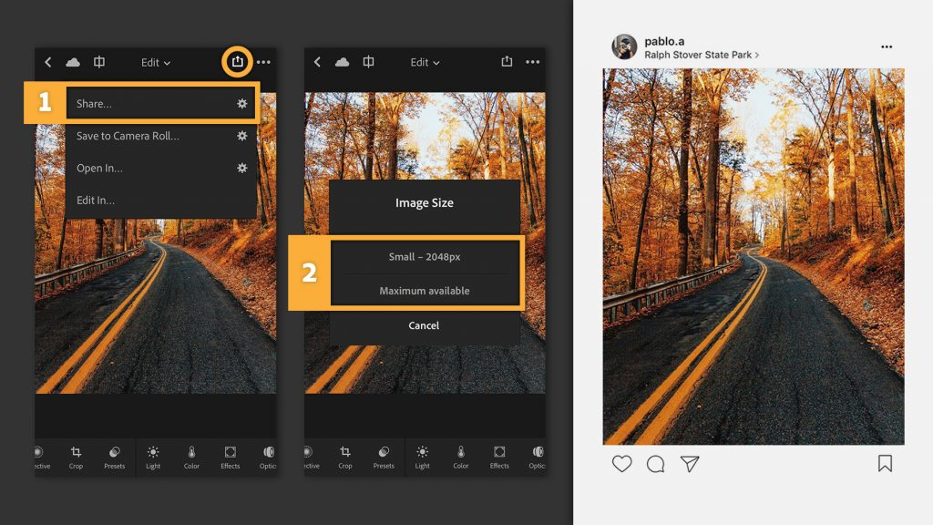 screenshot of Adobe Photoshop Lightroom photo editor for mobile