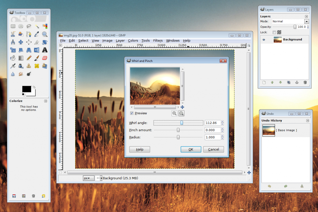 screenshot of GIMP photo editing software