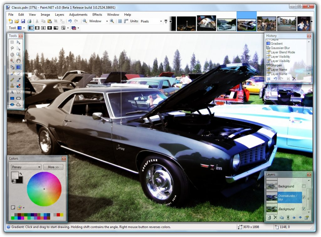 screenshot of Paint.NET photo editor