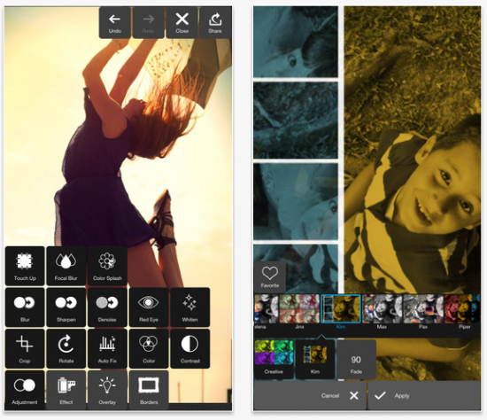 screenshot of Pixlr Express photo editor for mobile