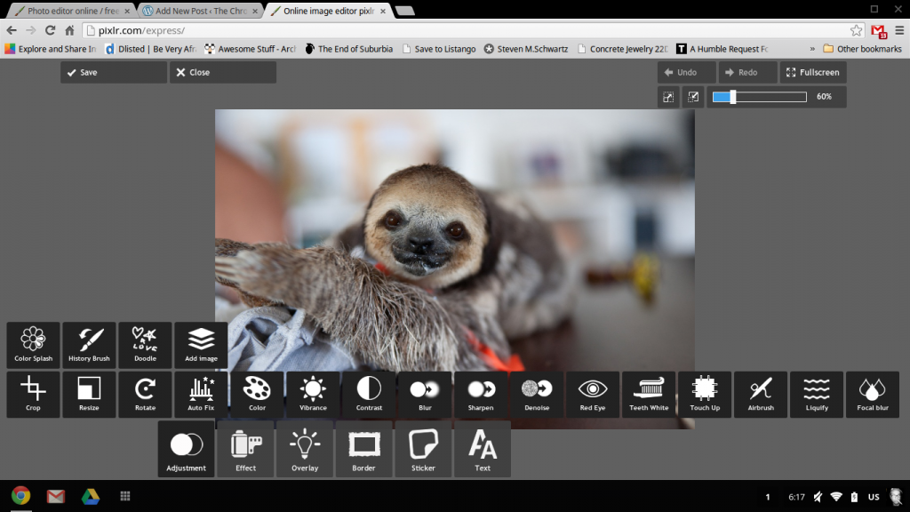screenshot of Pixlr photo editor for chromebook
