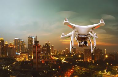 aerial photographer drone above the city