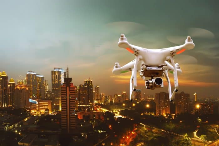 aerial photography drone above the city