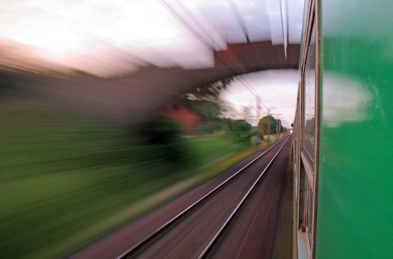 train creating a motion blur