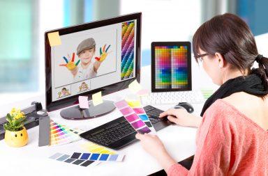 graphic designer working with free photoshop overlays