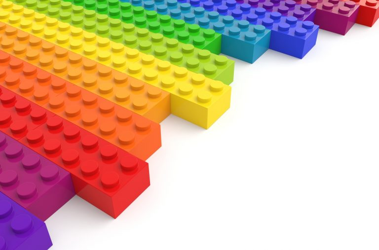 lego bricks on white background