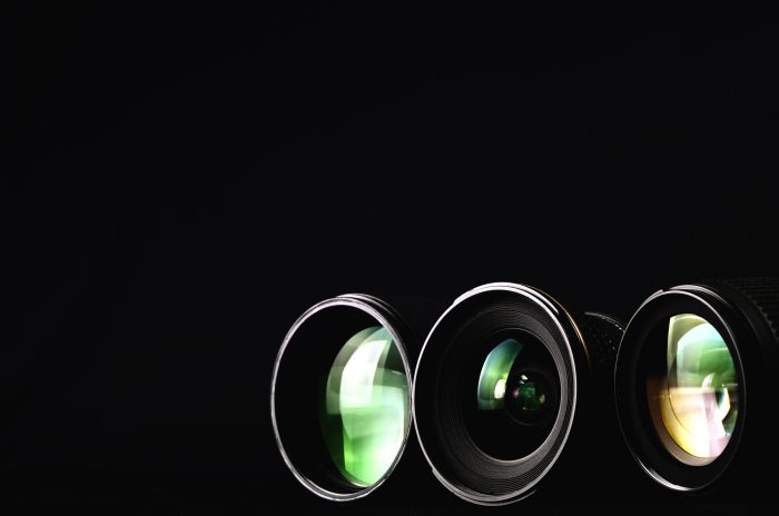 different lenses on a black background