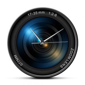 blue lens wall clock