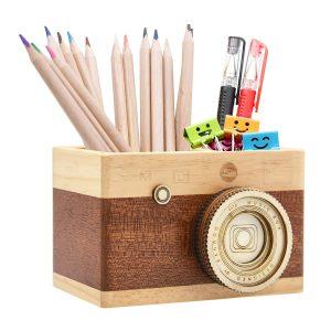 wooden camera pencil box