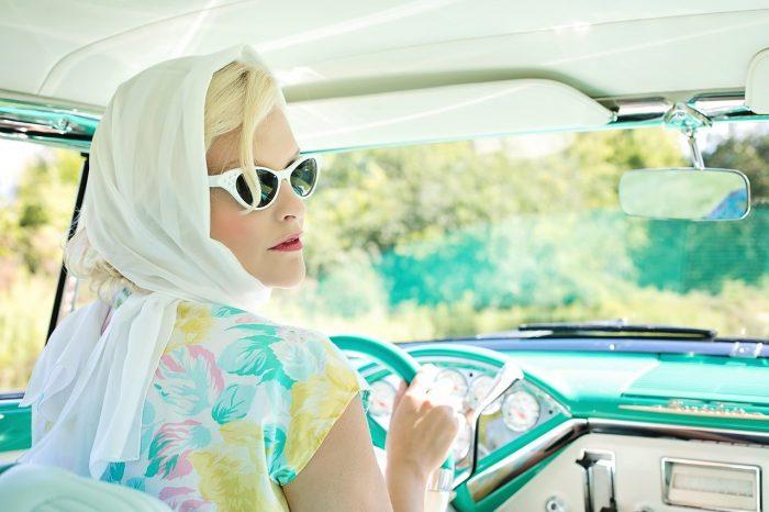 elegant lady in vintage clothes